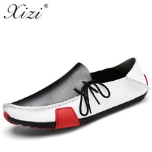 XIZI 2018 Men Breathable Causal Shoes Male Loafers High Quality Split Leather Moccasins Bullock Oxfords Flats for