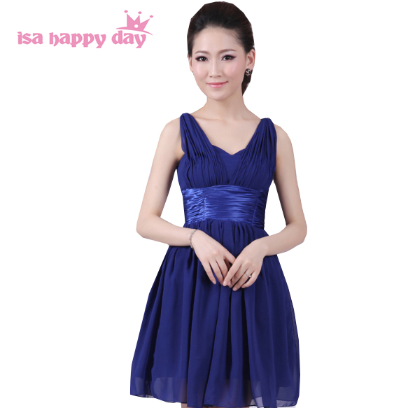 special occasion chiffon sleeveless piece short fashionable hot   dress   two shoulder for girls to   prom     dresses   blue 2019 H1323
