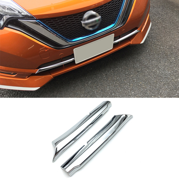 ABS Chrome Car front grille trims for Nissan Note 2017 2018 2019 Front Bumper Air-inlet Grille 2pcslot grille