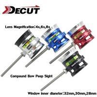 ID28MM/30MM Rainbow F2 Scope 4x/6x/8x Magnification Compound Bow Sight Optical Fiber 1 Pin Lens Archery Arrow Aluminum Hunting