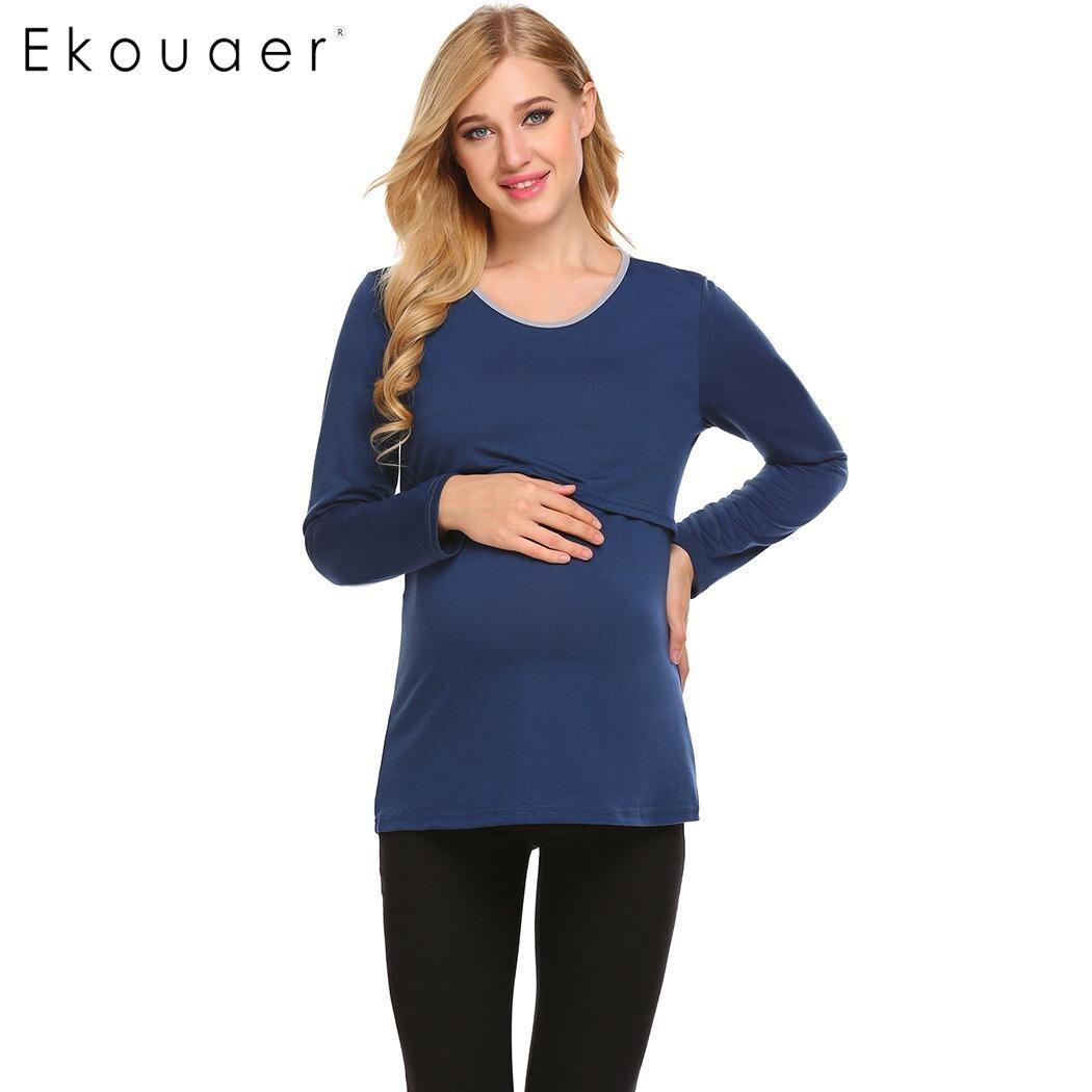 dea958ec337f8 Aliexpress.com : Buy Ekouaer Women Maternity Nursing Sleepwear T Shirts O  Neck Long Sleeve Pregnant Nursing Breastfeeding Nightwear Tops with Scarf  from ...
