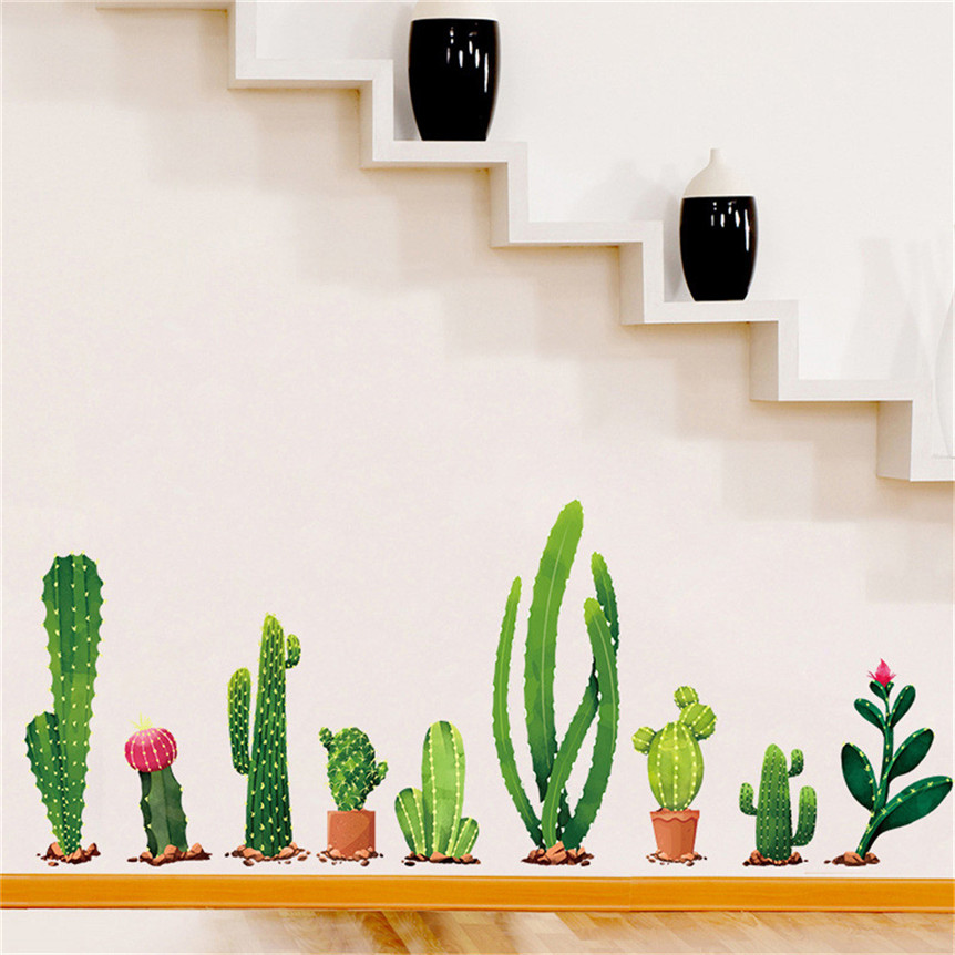 1Set Sticker Plant Cactus Family Removable Wall Decal For Living Room Kids Room Decor Wall Stickers Drop Shipping 8M04 New