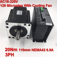 20Nm 110mm NEMA42 6.9A Stepper Motor Driver Kit 3PH 32 DSP AC18 220V 128 Microstep With Cooling FanHigh Torque For CNC