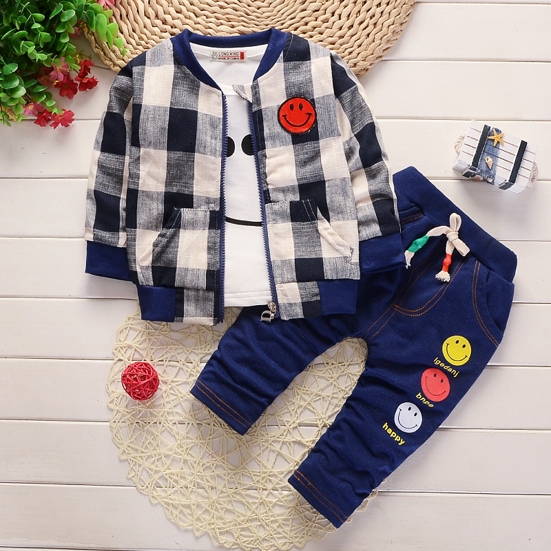 цена на Boys spring autumn 3pcs clothing children coat+t-shirt+pants 3pcs casual kids sport suits for boys kids tracksuits costume