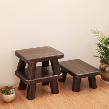 Rectangle Japanese Antique Wooden Stool Paulownia Wood Asian Traditional Furniture Living Room Portable Small Wood Low Stool