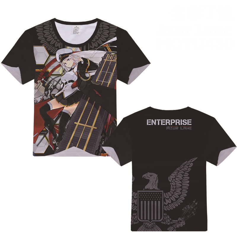 Azur Lane Akagi Kaga Prinz Eugen Enterprise Printed T-shirt Cosplay Costume Men Women Summer Fashion Tshirt Short Sleeve Tees
