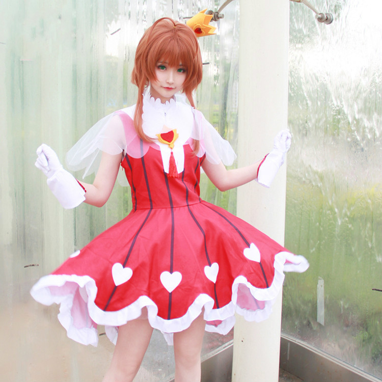 Sakura Clear Card Cosplay Card Captor Sakura OP2 Heart of Rose Gamble suit cosplay costume summer dress Sakura cosplay dress