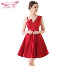 AnXin SH Nueva llegada de partido corto vestidos de noche de la princesa roja vestido de noche vestido de Festa Robe De Soirée