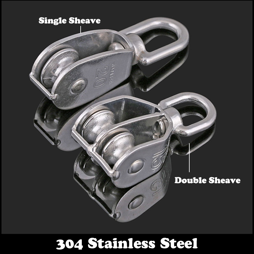 M32 M50 M75 M100 304 Stainless Steel Wire Rope Single Dual Fixed Pulley Crown Block Universal Lifting Swivel Traction Sheave m15 m20 m25 304 stainless steel wire rope single double wheel fixed pulley crown block universal lifting swivel traction sheave
