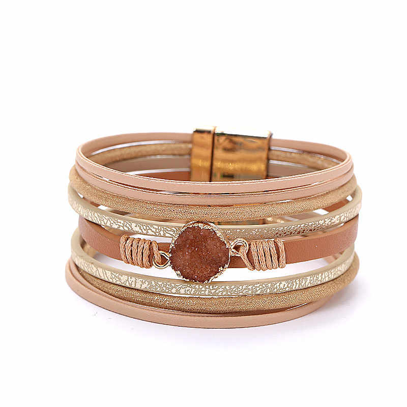 Rainbery Multilayer Women Leather Bracelet Female Fashion 2019 Stone Metal Charm Vintage Wide Bracelets & Bangles Femme Jewelry