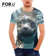 FORUDESIGNS Terrier T Shirt Men Fashion Cool 3D Streetwear Mens T-shirt Tiger Tee tops pp fitness Male brand clothing homme