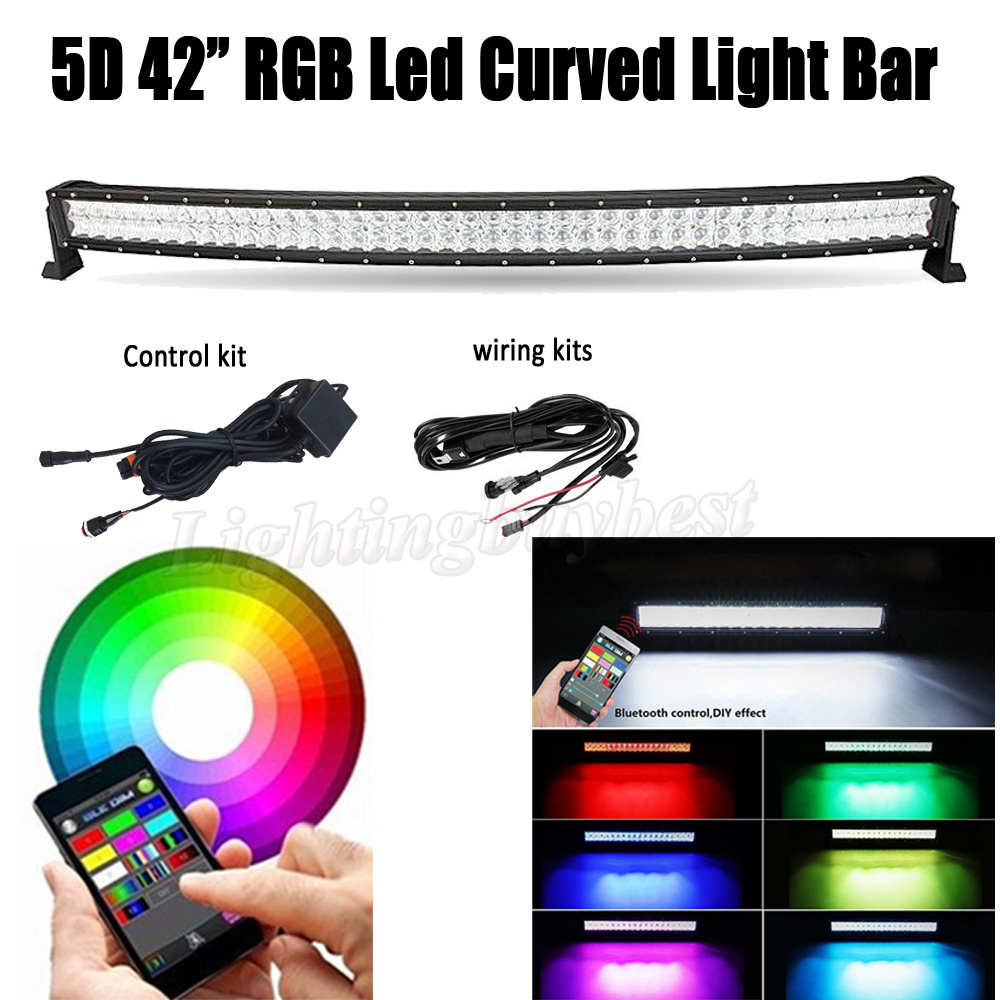42 INCH 240W 5D RGB LED Curved Work Light Bar Combo For CREE chips Offroad ATV SUV Driving 4X4 4WD Boat Bluetooth App Control auxbeam 54 312w 5d cree led light bar combo curved offroad led bar 2pcs 60w 5 led driving light for jeep truck atv suv