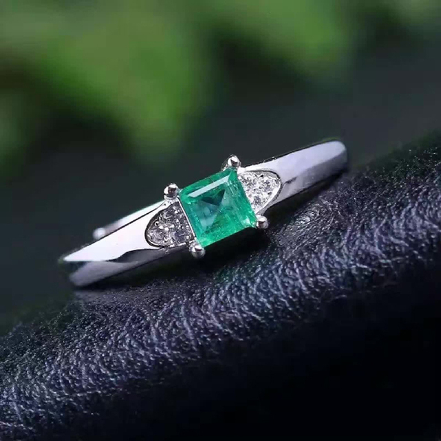 colombia emerald ring 925 stering silver natural gemstone women vs engagement party square ring gift valentine