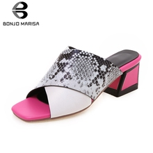 BONJOMARISA New Hot Sale Colored High Heels Slippers Women 2019 Summer Large Size 34-43 Fashion Mules Casual Shoes Woman