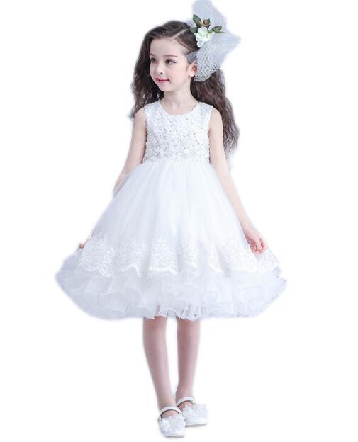Girls Wedding Formal Dresses 2018 Sleeveless Tiered Gauze Flowers Girls tutu Princess Dress Kids Birthday Party Dress White