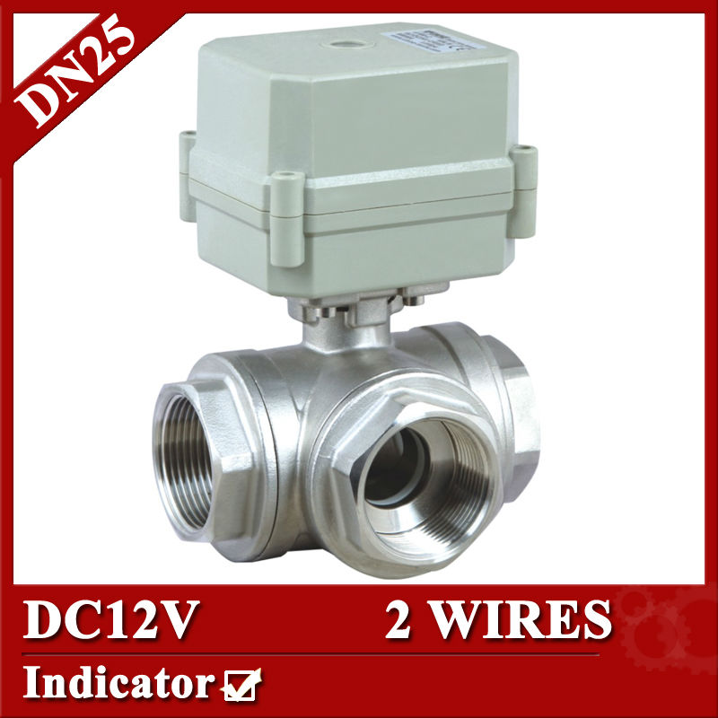 1'' DC12V SS304 3 way L port electric ball valve, DN25 2 wires motorized ball valve for water heating 1 2 ss304 electric ball valve 2 port 110v to 230v motorized valve 5 wires dn15 electric valve with position feedback