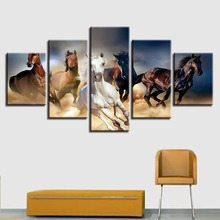 Canvas Printed Scenery Paintings 5 Pieces Animals Horse Running Very Fast Modular Pictures Living Room Wall Art Home Decor Frame