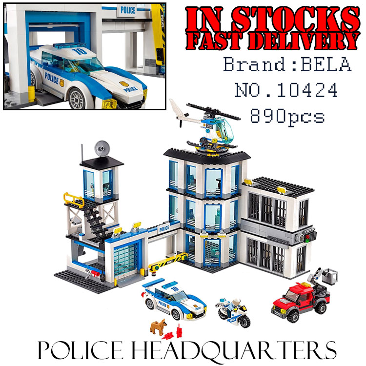 Bela City 10424 890PCS Police Station model Building Blocks Bricks enlighten toys for children Birthday gifts brinquedos 60047 890pcs city police station building bricks blocks emma mia figure enlighten toy for children girls boys gift