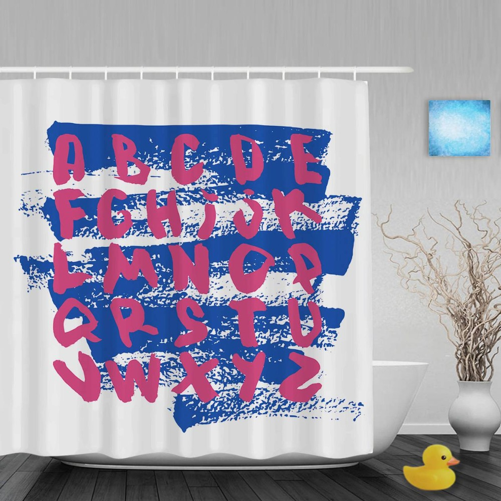 educational 26 alphabet letters baby shower cutains kids nursery bathroom shower curtains polyester waterproof fabric with