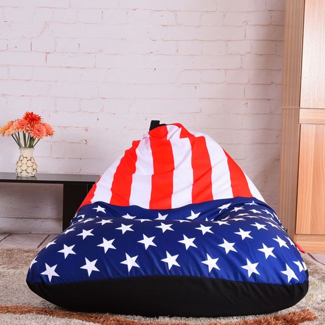 LEVMOON Beanbag Sofa Chair USA Flag Seat Zac Bean Bag Bed Cover Without Filling Indoor Beanbags