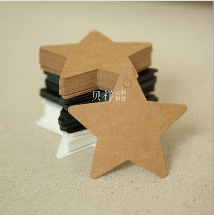 100Pcs Star Shape Price Tags Kraft Paper Label Wedding Christmas Halloween Party Favor Card Luggage Tags