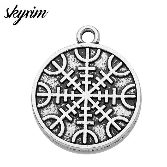 ba4a3e177 Skyrim 10pcs The Helm of Awe Aegishjalmur Mammen Style Charms Pendants  Slavic Scandinavian Norse Viking Jewelry