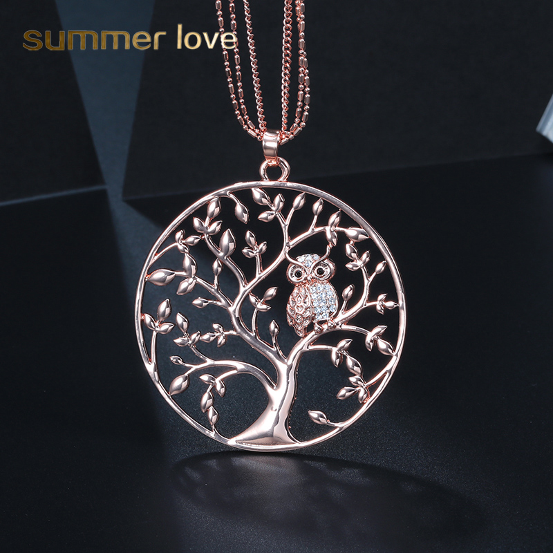 Cute Crystal Animal Owl Pendant Necklace Multilayer Chain Tree of life Jewelry Silver Rose Gold for
