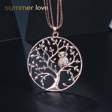 Cute Crystal Animal Owl Pendant Necklace Multilayer Chain Tree of life Jewelry Silver/Rose Gold for Women Gift Female collares