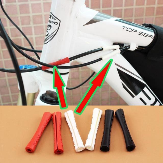 4 unids/lote bicicleta de freno de bicicleta de tubo de línea de cubierta de goma de cambio de guardia tubo cubre