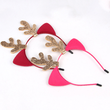 FashionChristmas antlers headband cat ears cartoon haircard Merry Christmas Ornaments Party Decorations
