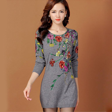 Cashmere sweater women 2016 Autumn Winter knitted sweaters O-neck long sleeve women pullovers Flower Print dress Tops