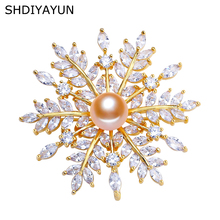 SHDIYAYUN 2019 New Pearl Brooch For Women Snowflake Brooches Pins Natural Freshwater Fine Jewelry Accessories Dropshipping