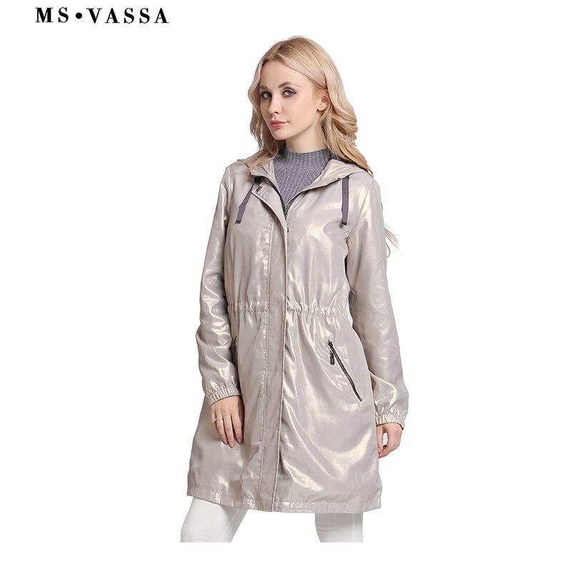 MS VASSA Большие размеры Тренч Для женщин осень 2018 Новая мода пальто с капюшоном Большие размеры ветровка регулируемый пояс женская верхняя од...