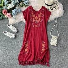 Holiday Ethnic Women's Wear Cotton Hemp Fringed V-neck Dress