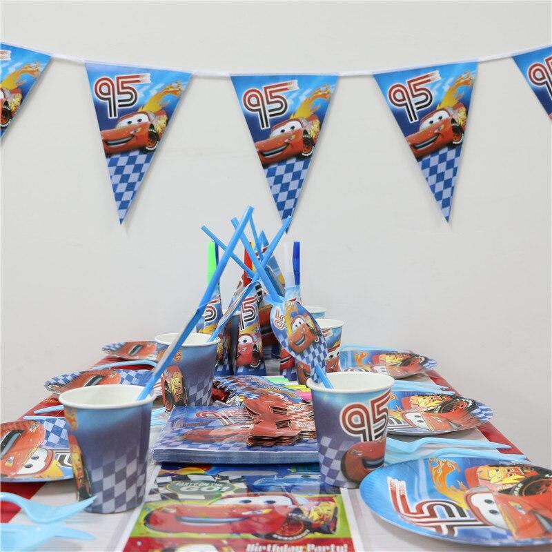 36 unids movie cars tema de fiesta para Niños niño decoración fiesta de cumpleañ