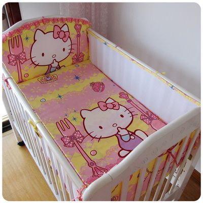 Promotion! 5PCS Kitty Cotton Cot Baby bedding Sets ,Boy And Girl Bedding Sets,Newborn babies bedding ,include:(bumper+sheet)