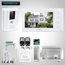 """HOMSECUR 7 """"Проводной Видео и Аудио Домашний Интерком + Белый Монитор для Дома/Квартиры : TC011-W + TM704-W"""