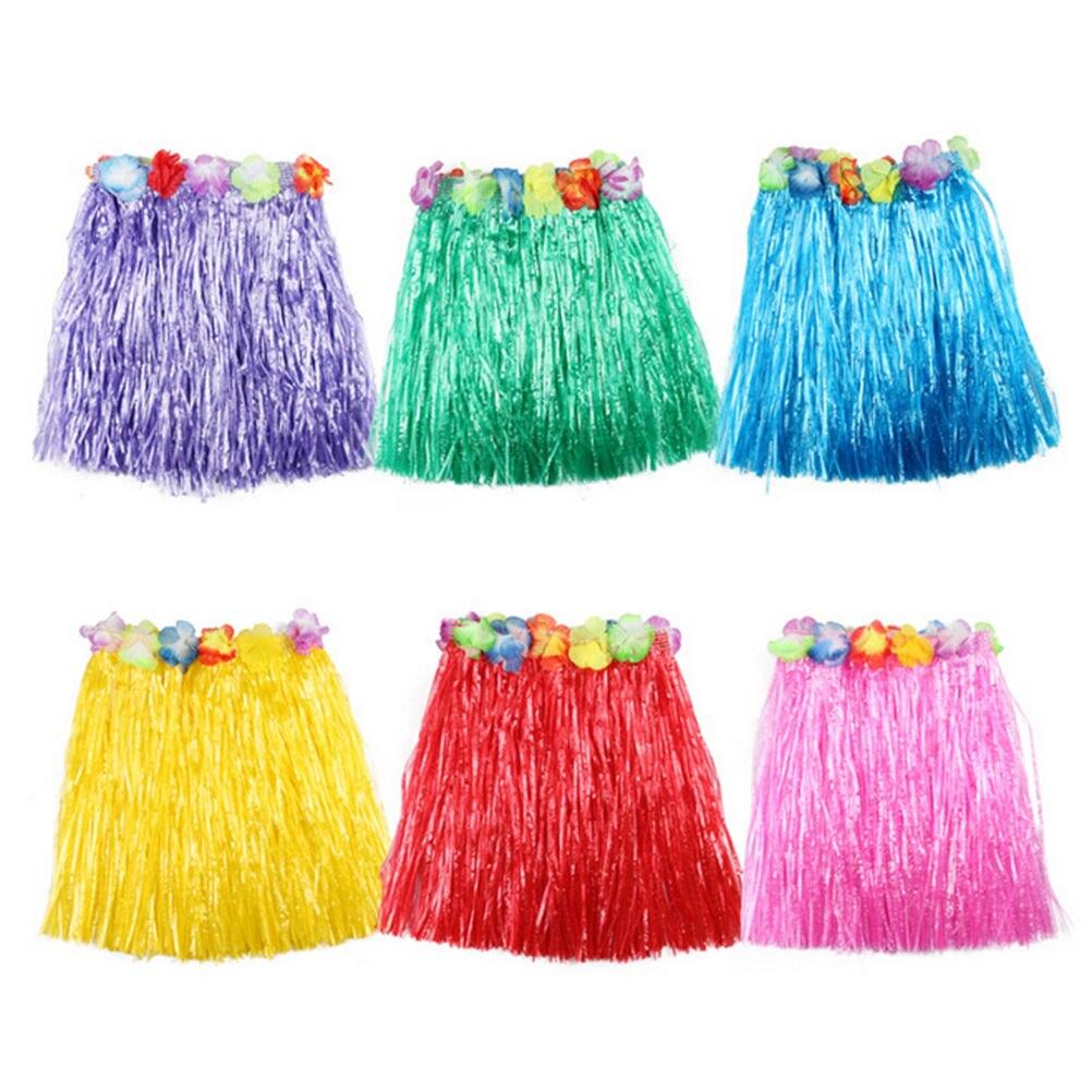 10 Colors Plastic Fibers Kid Grass Skirts Hula Skirt Hawaiian costumes 30CM Girl Dress Up Wholesale