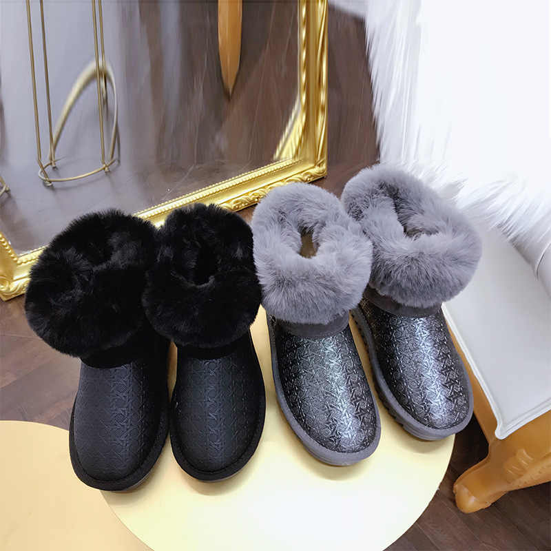 ... Black Snow Boots Women Waterproof with Fur Plush Warm 2018 Winter Furry  Ankle Shiny Fashion Flats ... 8637dd465a58