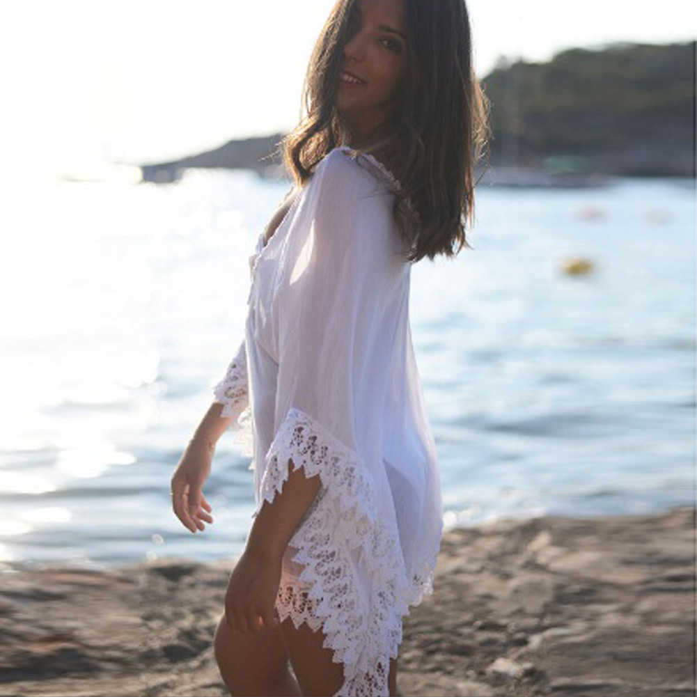 Pareo Beach Cover Up Dress Floral Embroidery Bikini Cover Up Swimwear Women Robe De Plage Beach Cardigan Bathing Suit Cover Ups