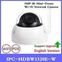 DH Original 3MP IR Mini Dome WiFi Network IP Camera IPC HDBW1320E W Wireless Security Camera 3MP IR 30m Waterproof Camera