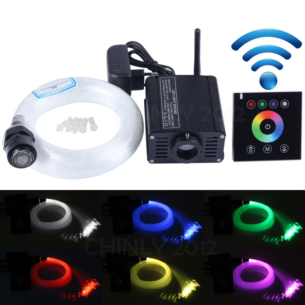 16W RGBW 2.4G wireless wall switch touch controller LED Fiber optic light Star Ceiling Kit Lights 300pcs 0.75mm 2M+Crystal 2016 newest touching panel controller 16w rgbw led optic fiber light engine 150pcs 0 75mm 2meter optic fiber diy light