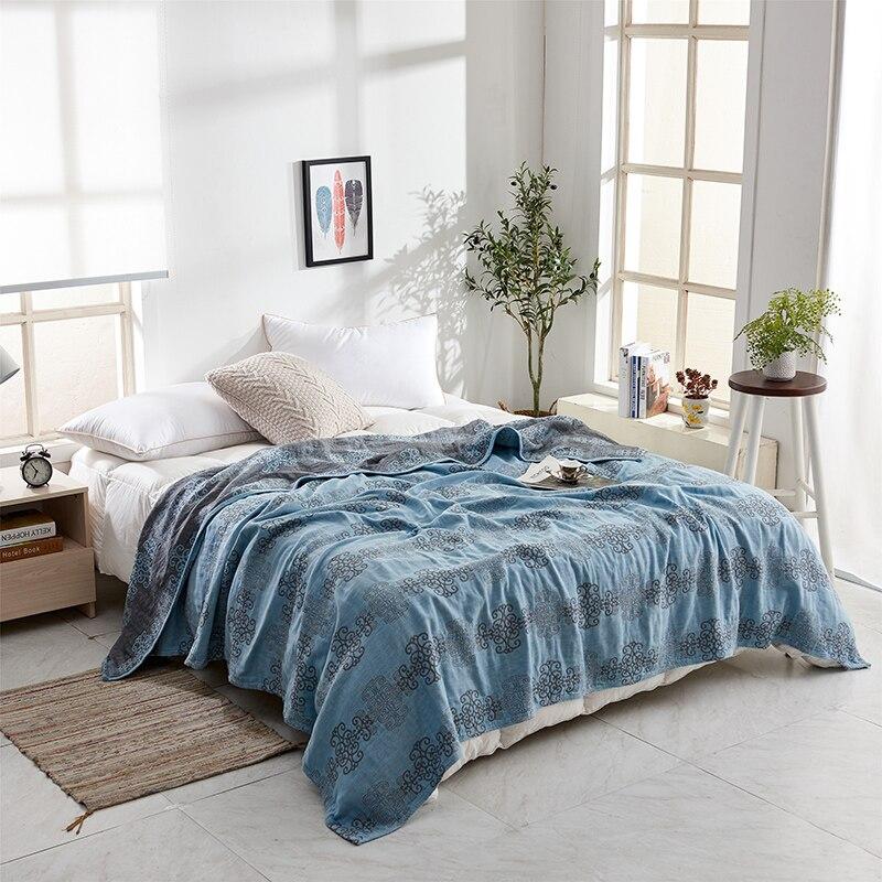 iDouillet New Soft Lightweight Cotton Muslin Bed Throw Blanket Adult Kids Reversible Summer Quilt Bedspread 150x200cm