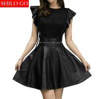 SHILO GO New Fashion Street Women Vintage Petal Sleeve Strap Lace Sheepskin Genuine Leather Dress Ladies Concise Pleasure Dress