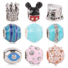Couqcy Fit Pandora Bracelet Bangle Czech Jewelry DIY Blue color Crown Mickey Flower Meow Bead Original Charms Beads(China)