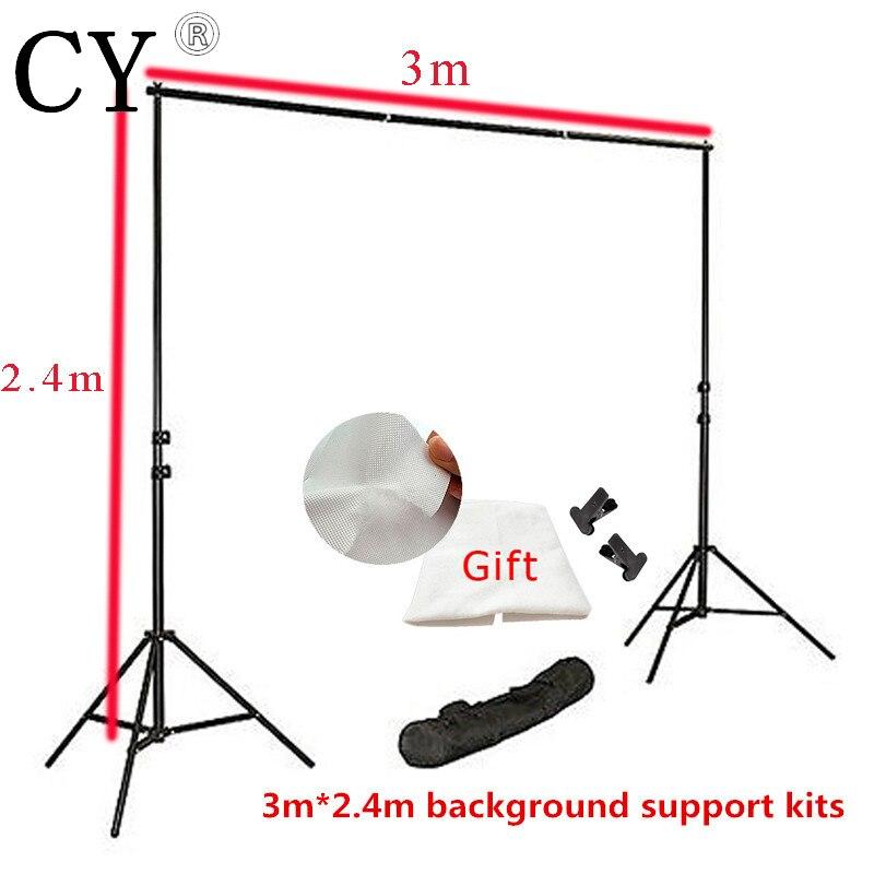 3 m x 2.4 m Kits de Support de fond de Studio de Photo avec toile de fond gratuite PSBS3