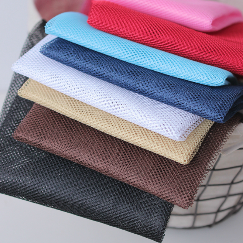 <font><b>150x50cm</b></font> Solid Color Good Quality Thick Net Yarn Mesh Cloth Gauze Polyester Fabric, Patchwork Bag Inside Bags image