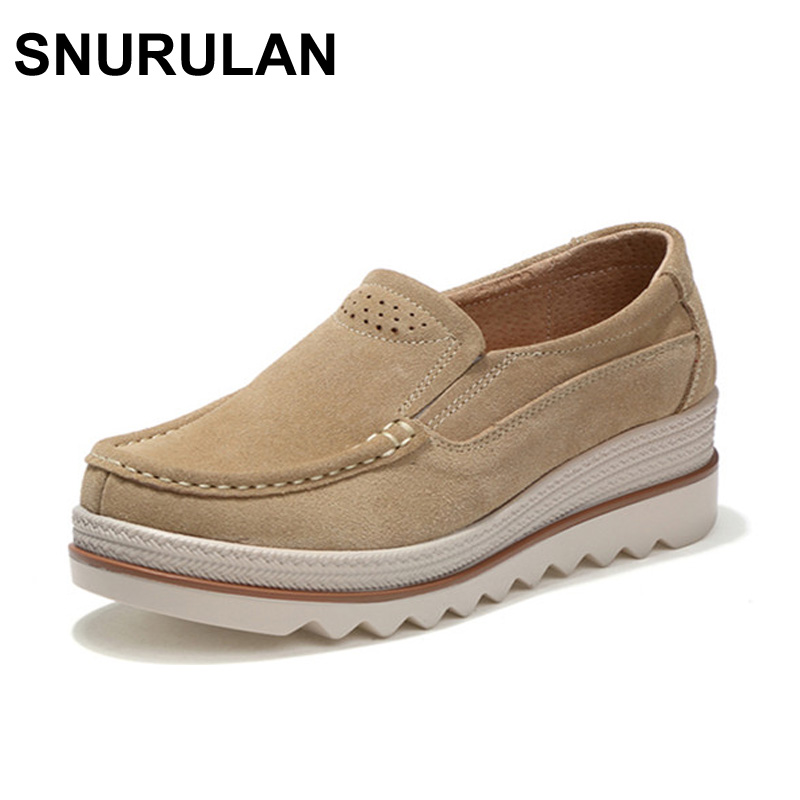 SNURULAN 2017 Autumn women flats shoes thick soled platform shoes   leather     suede   casual shoes slip on flats creepers moccasins