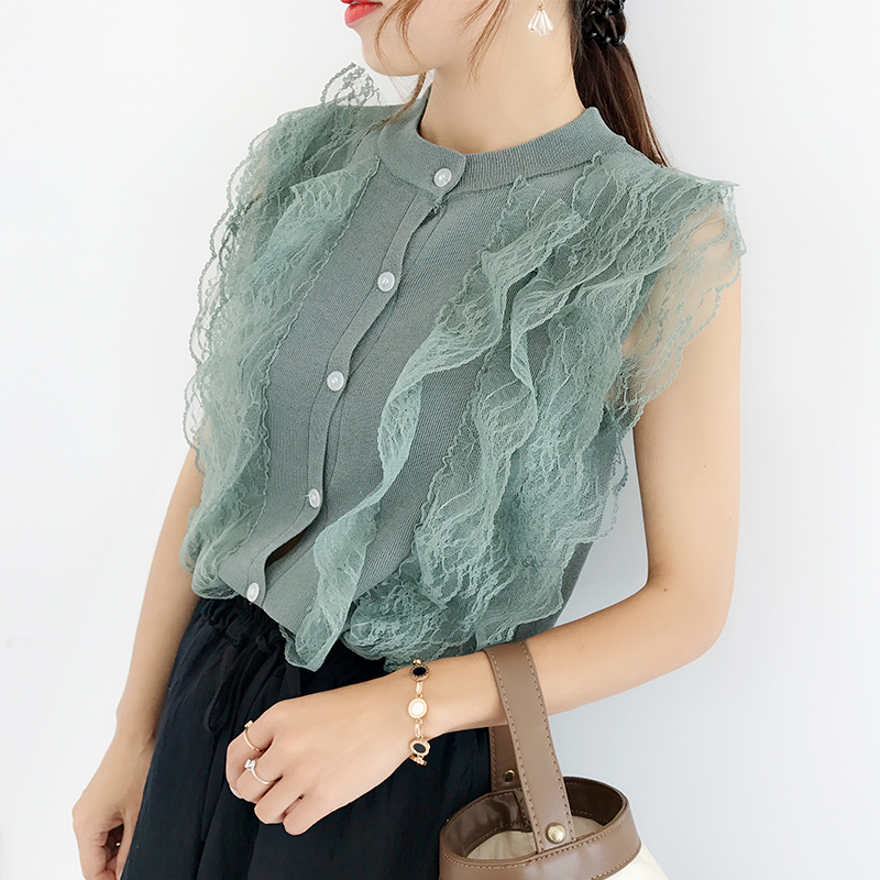 Women Fashion Knitting Patchwork Lace Sweet Cropped Tanks Tops Lady Sleeveless T shirts Sweater Cardigans Crop Tops