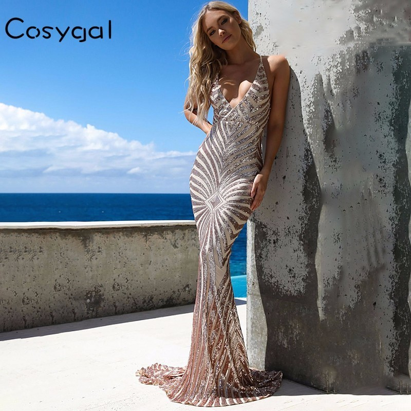 COSYGAL Sexy Sequined Maxi Dress Strap Deep V Neck Floor Length Dresses Women 2018 Summer Backless